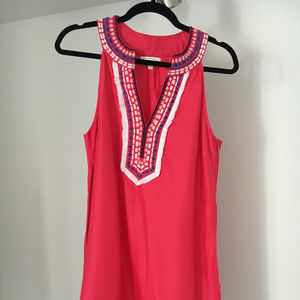 Mud Pie Cute Pink Sleeveless Emboirdered Dress